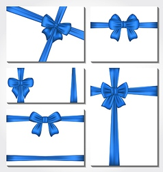 Set of blue gift bows for design packing vector image