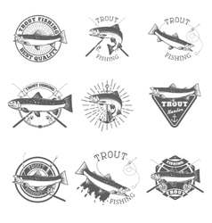 Set of trout fishing labels vector
