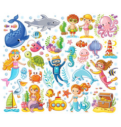 Set on a sea theme in a children s style vector