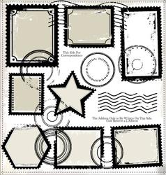 set post stamp symbols vector image
