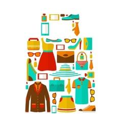 Shopping sale carry bag emblem vector