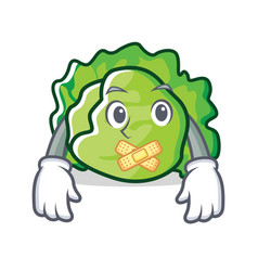 Silent lettuce character mascot style vector