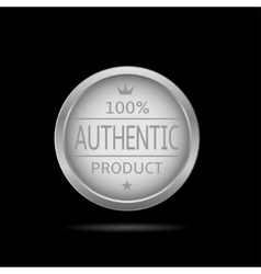 Silver authentic label vector