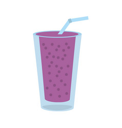 smoothie blackberry glass cup vector image
