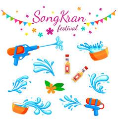songkran festival color thai water party vector image
