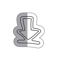 Sticker contour symbol arrow down icon vector