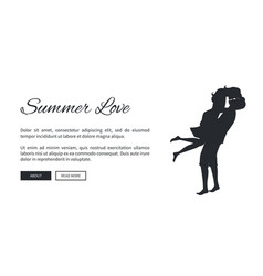 summer love web banner with kissing couple vector image