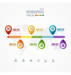 Timeline Infographic Map and pin vector image