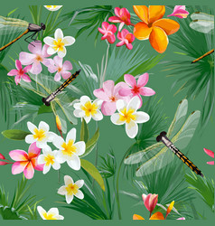 Tropical floral seamless pattern with dragonflies vector