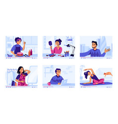 video channel cartoon vlog cooking and travel vector image