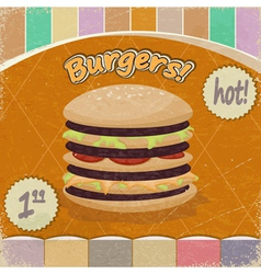 Vintage background with the image of big hamburger vector