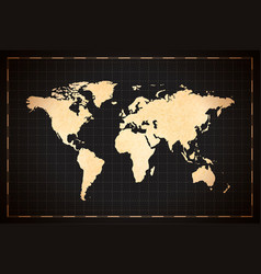 vintage detailed ancient world map on dark vector image
