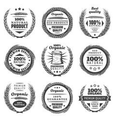 Vintage premium cereal products labels set vector