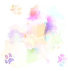 watercolor and cat paw print on white paper vector image