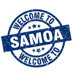 Welcome to samoa blue stamp vector