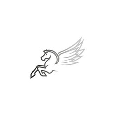 white horse pegasus logo vector image