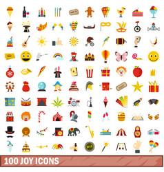100 joy icons set flat style vector