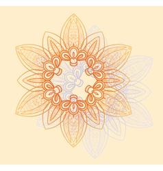 Bright floral circular pattern in orange vector image vector image