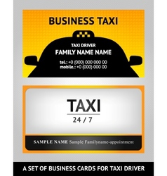 business cards taxi - set vector image vector image