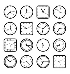 digital wall clock faces time icons set vector image vector image