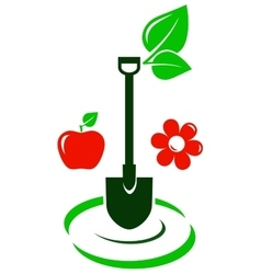 garden icon with fruit and flower vector image vector image