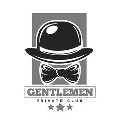 gentlemen private club colorless logo label on vector image vector image
