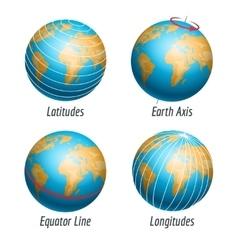 Latitude and longitude of earth globe vector image vector image