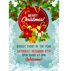 merry christmas holiday party poster vector image
