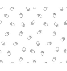 acorn seamless pattern in doodle stylehand drawn vector image