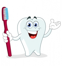 cartoon tooth with toothbrush vector image