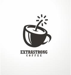 creative logo design idea for extra strong coffee vector image vector image
