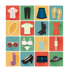 flat icons costume lady vector image vector image