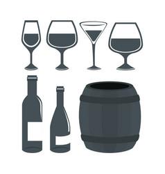 wine set bottles isolated icon vector image