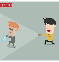 Businessman use flashlight find thief steal idea vector image vector image