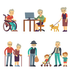 old age people in different situations senior man vector image vector image
