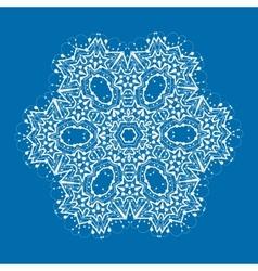 Outlined mandala on blue background Vintage vector image