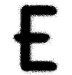 sprayed E graffiti font in black over white vector image vector image