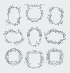 vintage borders and victorian ribbons set vector image vector image