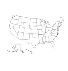 Blank outline map of USA vector image vector image