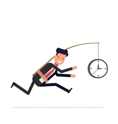 Businessman or tied clock manager runs the time vector image vector image