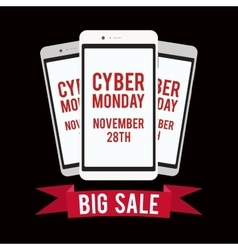 Cyber monday sale design template witn black vector