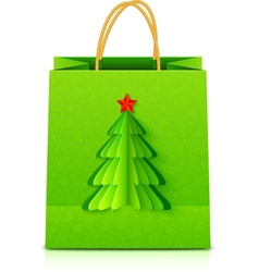 Green Christmas paper bag with fir tree vector image
