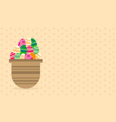 Greeting card easter theme on brown background vector