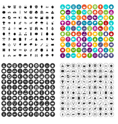 100 camping and nature icons set variant vector image