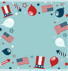 4th of july concept frame with festive attributes vector