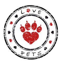 a grunge stamp with pet paw vector image