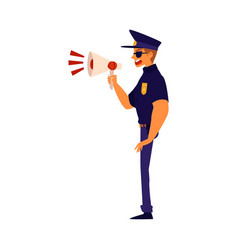 A policeman screams into a megaphone cartoon flat vector