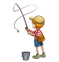 A simple sketch of a young boy fishing vector