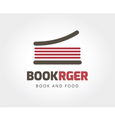 Abstract burger book logo template for branding vector image