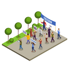 Activists isometric composition vector